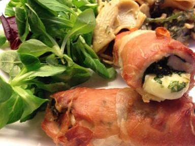 Kylling med brie, urter og skinke2